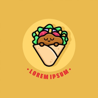 Cute sleeping face kebab logo