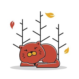 Cute sleeping fat cat autumn fall season cartoon