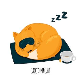 귀여운 잠자는 여우 캐릭터.