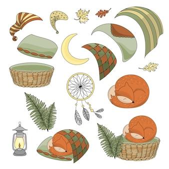 Cute sleeping fox set животная векторная иллюстрация печать