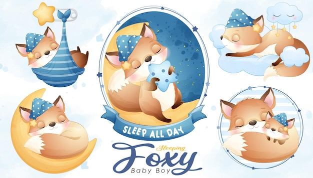 Cute sleeping foxy baby shower with watercolor illustration set