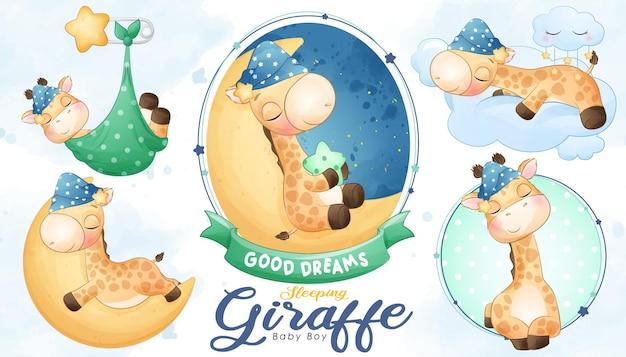 Милый спящий жираф детский душ с набором акварельных иллюстраций