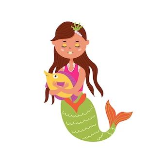 귀여운 잠자는 인어가 물고기를 안아줍니다. 프리미엄 벡터