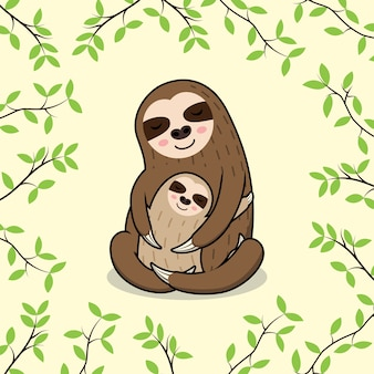 Cute sleeping mom and baby sloth banner