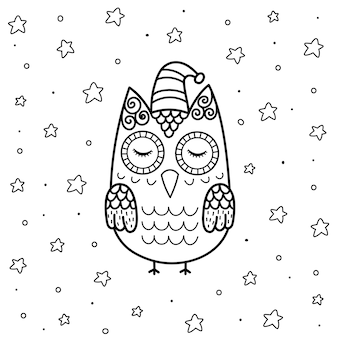 Cute sleeping owl in zentangle style coloring page for kids. black and white magical background with funny character.