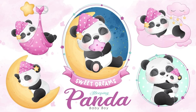 Cute sleeping panda baby shower with watercolor illustration set