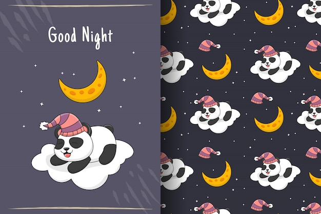 Cute sleeping panda on cloud seamless pattern and card