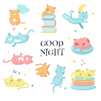 Cute sleeping pet cats vector icon set