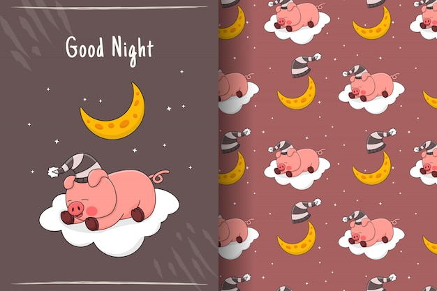 Cute sleeping piggy on cloud seamless pattern and card