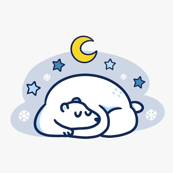Cute sleeping polar bear at winter night illustration