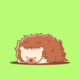 귀여운 잠자는 고슴도치 만화 벡터 일러스트 레이 션. 세계 동물의 날 개념