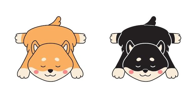 귀여운 잠자는 시바 inu 커플. 재미있는 동물 클립 아트. 플랫 만화 스타일.