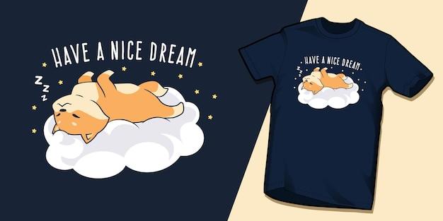 귀여운 잠자는 shiba inu는 멋진 꿈의 티셔츠 디자인을 가지고 있습니다.