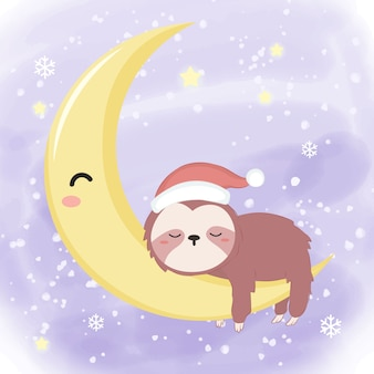 Cute sleeping sloth illustration