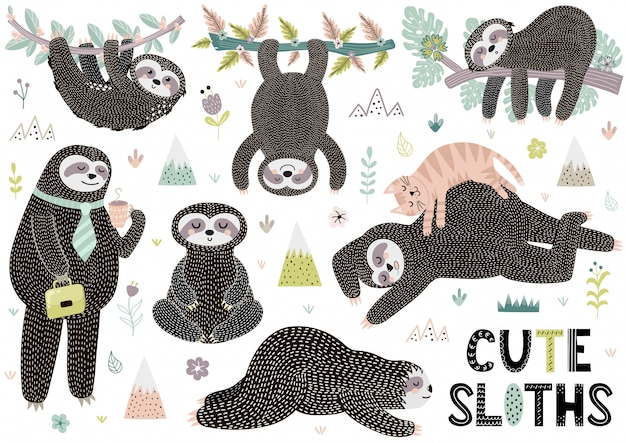 Cute sleeping sloths collection with mountains, plants and flowers
