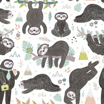 Cute sleeping sloths seamless pattern. adorable animal