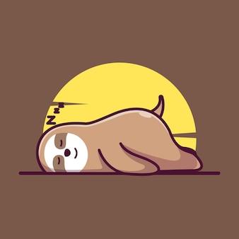 Милый спящий медленный лорис талисман иллюстрации вектор значок плоский мультфильм концепция