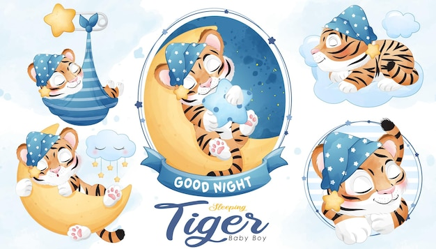 Cute sleeping tiger baby shower with watercolor illustration set