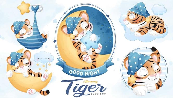 Милый спящий тигр детский душ с набором акварельных иллюстраций