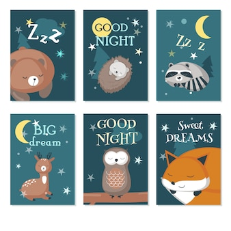 Cute sleeping wild animals vector card set