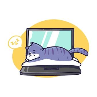 ノートパソコンのイラストの上にかわいい眠そうな猫が横たわる