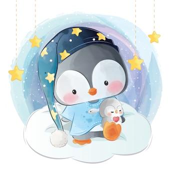 Милый сонный маленький пингвин