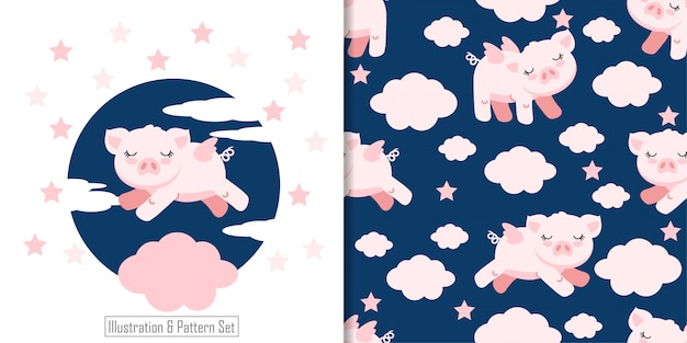 Cute sleepy pig angle card hand drawn seamless pattern set