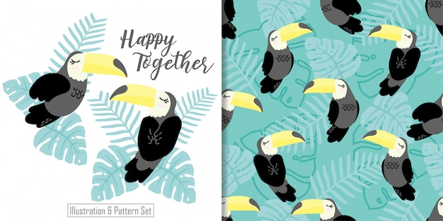 Cute sleepy tucan bird tropical card hand drawn seamless pattern set