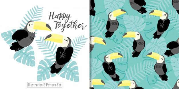 Cute sleepy tucan bird tropical card hand drawn seamless pattern set