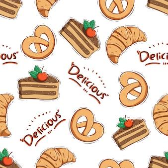 낙서 스타일로 매끄러운 패턴의 귀여운 슬라이스 케이크와 크루아상