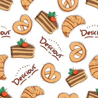 Cute slice cake and croissant in seamless pattern with doodle style