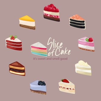 Cute slice of cake illustration