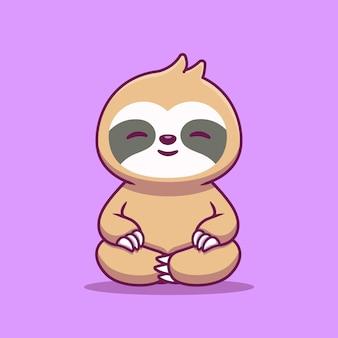 Carino slot seduto yoga icona del fumetto illustrazione