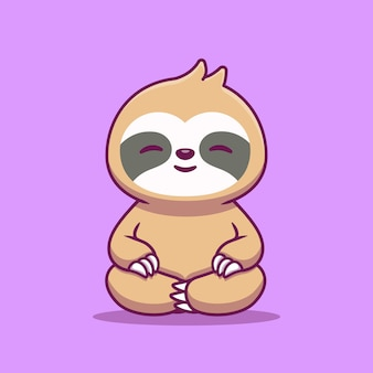 Cute slot sitting yoga cartoon icon illustration