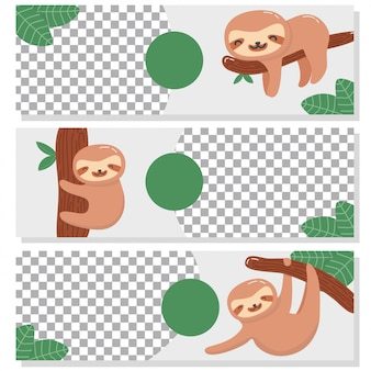 Cute sloth banner collection