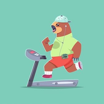 Cute sloth cartoon character doing exercises on a treadmill.
