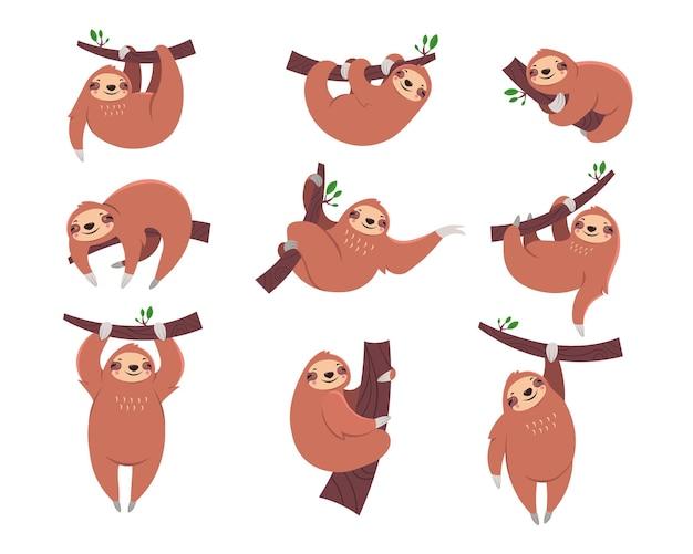 Симпатичный ленивец мультяшный персонаж с плоским набором иллюстраций