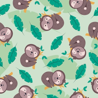 Cute sloth cartoon seamless pattern with leaves