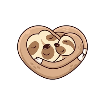 Cute sloth cartoon with big hug cartoon  icon illustration. animal icon concept on white background