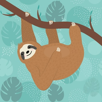 Cute sloth character hanging on a tree