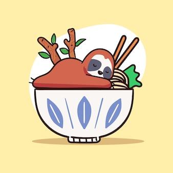 Cute sloth character sleep on a bowl of ramen illustration