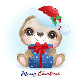Cute  sloth for christmas day with watercolor illustration