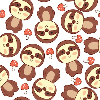 Cute sloth doodle cartoon seamless pattern