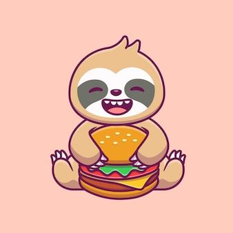 かわいいナマケモノを食べるハンバーガー漫画イラスト。動物の食べ物や飲み物の概念が分離されました。フラット漫画 Premiumベクター