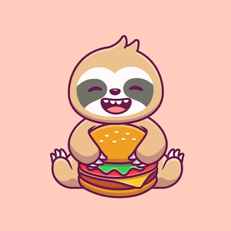 Cute sloth eating burger cartoon   illustration. animal food and drink  concept isolated . flat cartoon