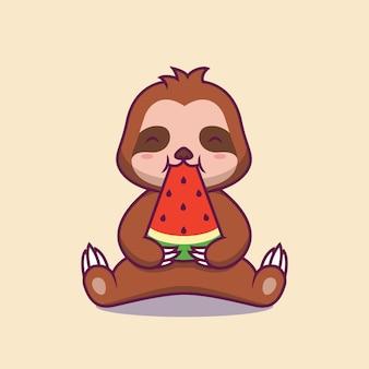 スイカを食べるかわいいナマケモノ漫画イラスト