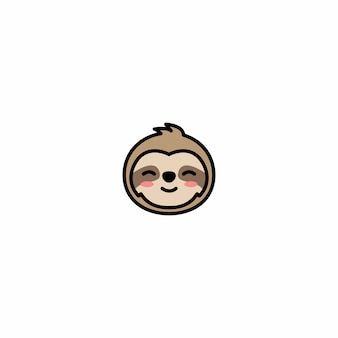 Cute sloth face cartoon icon