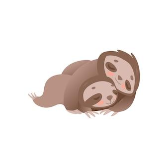 眠っているかわいいナマケモノの家族-小さな赤ちゃんとリラックスした面白いジャングル動物の母。