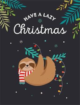 かわいいナマケモノ、サンタクロースのスカーフと面白いクリスマスのイラスト-グリーティングカード