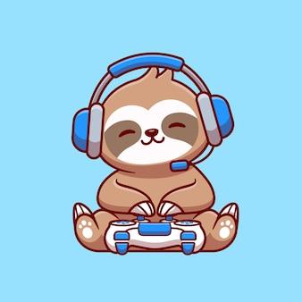 Милый ленивец игровой мультфильм иллюстрации